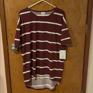 LuLaRoe Burgundy and White Irma Tunic NWT